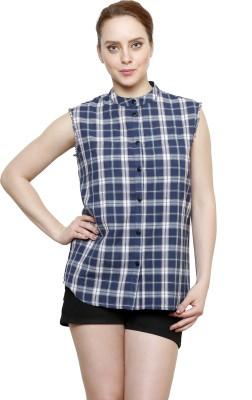 I Am For You Women's Checkered Casual Blue Shirt
