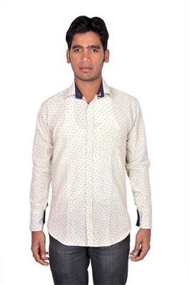 Royal Fashion Men's Printed Festive White Shirt