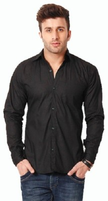 Rv Collection Men's Solid Party Black Shirt