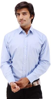 Elite Formals Men's Solid Formal Blue Shirt