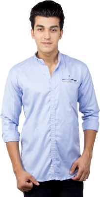 El Figo Men's Solid Casual Light Blue Shirt