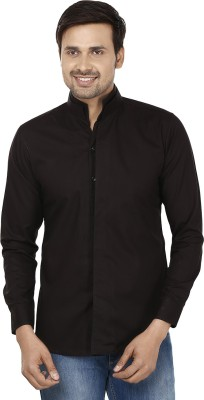 Smile By Nature Men's Solid Party, Casual Black Shirt