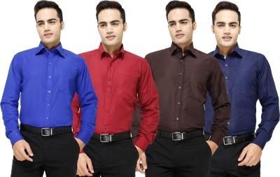 Yuva Men's Solid Formal Blue, Maroon, Brown, Dark Blue Shirt