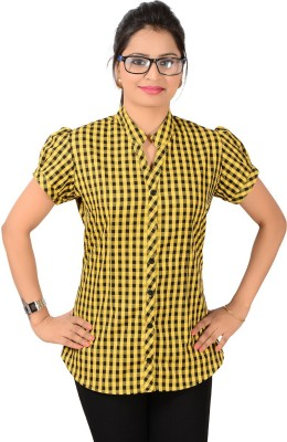 Jazzy Ben Women,s Checkered Casual Yellow, Black Shirt