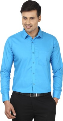 Edinwolf Men's Solid Formal Blue Shirt