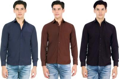 Atmosphere Men's Solid Casual Blue, Brown, Black Shirt