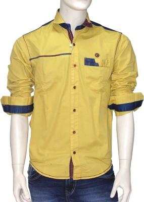 Exin fashion Men's Solid Casual Yellow Shirt