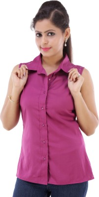 Fille Divin Women's Solid Casual Pink Shirt