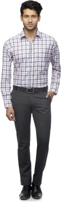 Menmark Men,s Checkered Formal Black, White, Purple Shirt