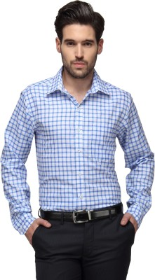 Copperline Men's Checkered Casual Blue, White Shirt