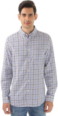 London Fog Men,s Checkered Casual Blue Shirt