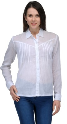 Pique Republic Women's Solid Casual White Shirt