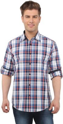 The Cotton Company Men's Checkered Casual Blue, White, Red Shirt