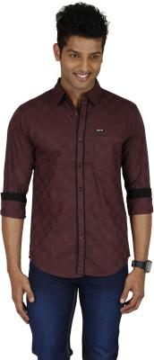 Sleek Line Men's Solid Casual, Festive, Party, Wedding Maroon Shirt