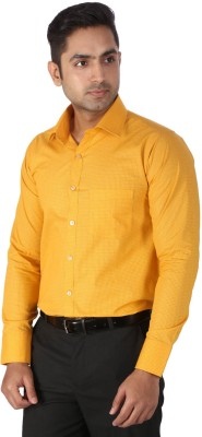 Regza Men's Checkered Formal Yellow Shirt