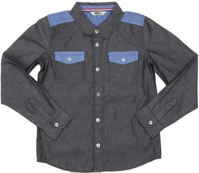 People Boy's Solid Casual Grey Shirt