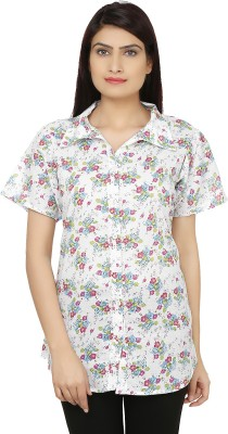 India Inc Women's Floral Print Casual White, Pink Shirt