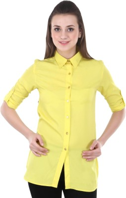 Street 9 Women's Solid Casual Yellow Shirt