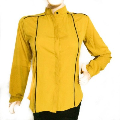 ARMOIRE Girl's Solid Formal Yellow Shirt