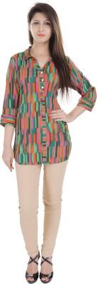 e-wa Women's Printed Casual Green Shirt