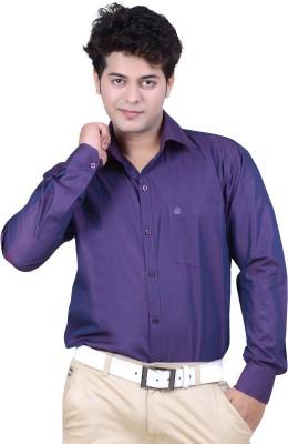 Ishin Designer Studio Men's Solid Casual Purple Shirt