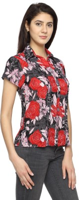 Texco Garments Women's Floral Print Casual Red Shirt