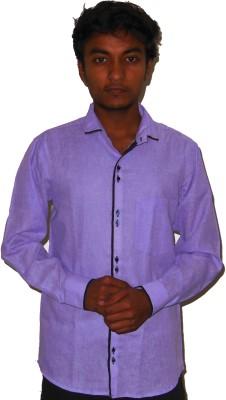 Silvercuffs Men's Solid Casual Linen Purple Shirt