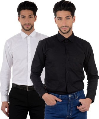 Winsome Deal Men's Solid Formal Black, White Shirt