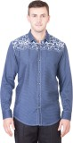 Desam Men's Printed Casual Blue Shirt
