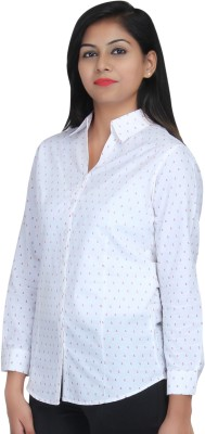 Estella Fashion Women's Printed Casual White Shirt