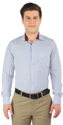 Zoro Auge Men's Striped Casual White, Blue, Maroon Shirt
