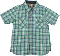 Scullers Kids Boys Checkered Casual Green Shirt