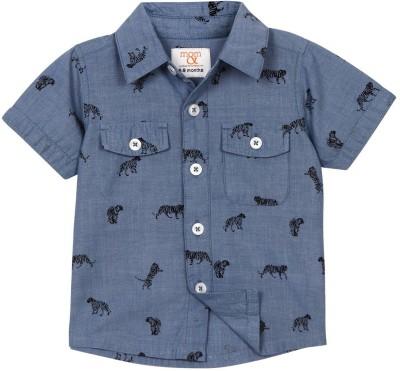 Mom & Me Baby Boy's Printed Casual Blue Shirt