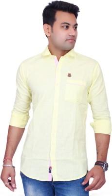La Milano Men's Solid Casual Yellow Shirt