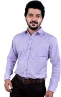 White Crystal Formal Shirts (Men's) - White Crystal Men's Solid Formal Purple Shirt