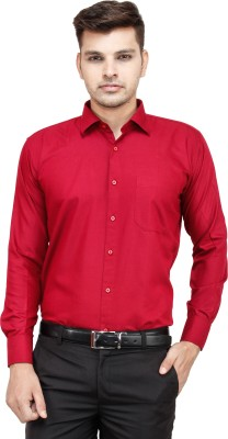 FranklinePlus Men's Solid Formal Maroon Shirt