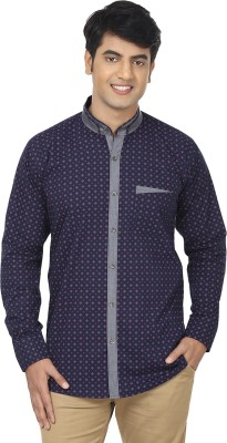 Swiss Culture Men's Printed Casual Dark Blue Shirt
