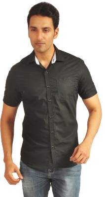 Sterling Men's Solid Casual Black Shirt