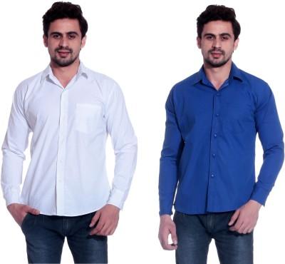 Calibro Men's Solid Casual White, Blue Shirt