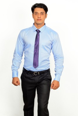 Green Bows Men's Self Design Formal Blue Shirt