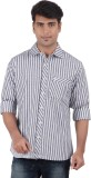 Anytime Men's Striped Casual Grey Shirt