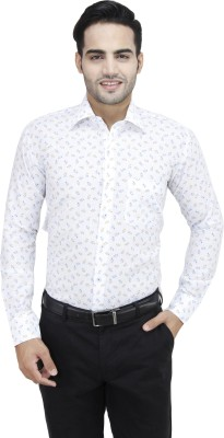 Da Vinci Men's Printed Casual White, Blue, Yellow Shirt