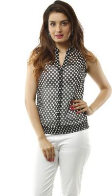 Lynda Women's Polka Print Casual Black, White Shirt