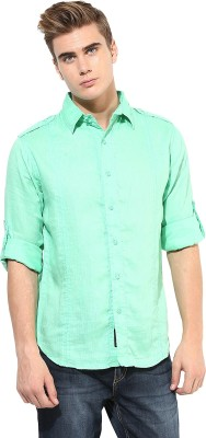 Punk Men's Solid Casual Reversible Light Green Shirt