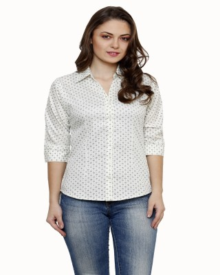 Ritzzy Women,s Printed Casual White Shirt