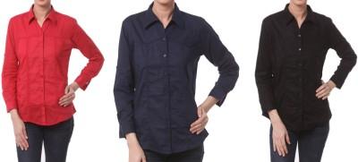 Meow Women's Solid Formal Red, Dark Blue, Black Shirt