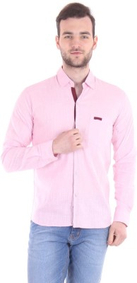 Routeen Men's Solid Casual Blue, Pink Shirt