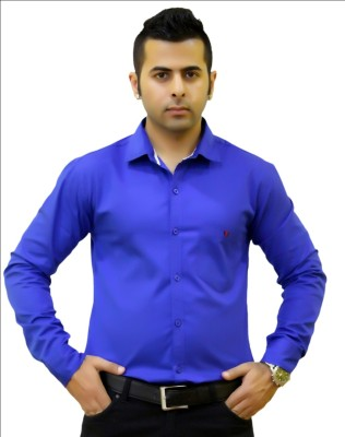 Togsun Men's Solid Formal Blue Shirt