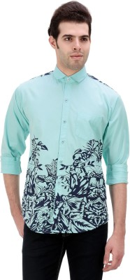 One Sphere Men's Printed Casual Blue Shirt