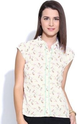 Colors Couture Women's Printed Casual White, Green Shirt at flipkart